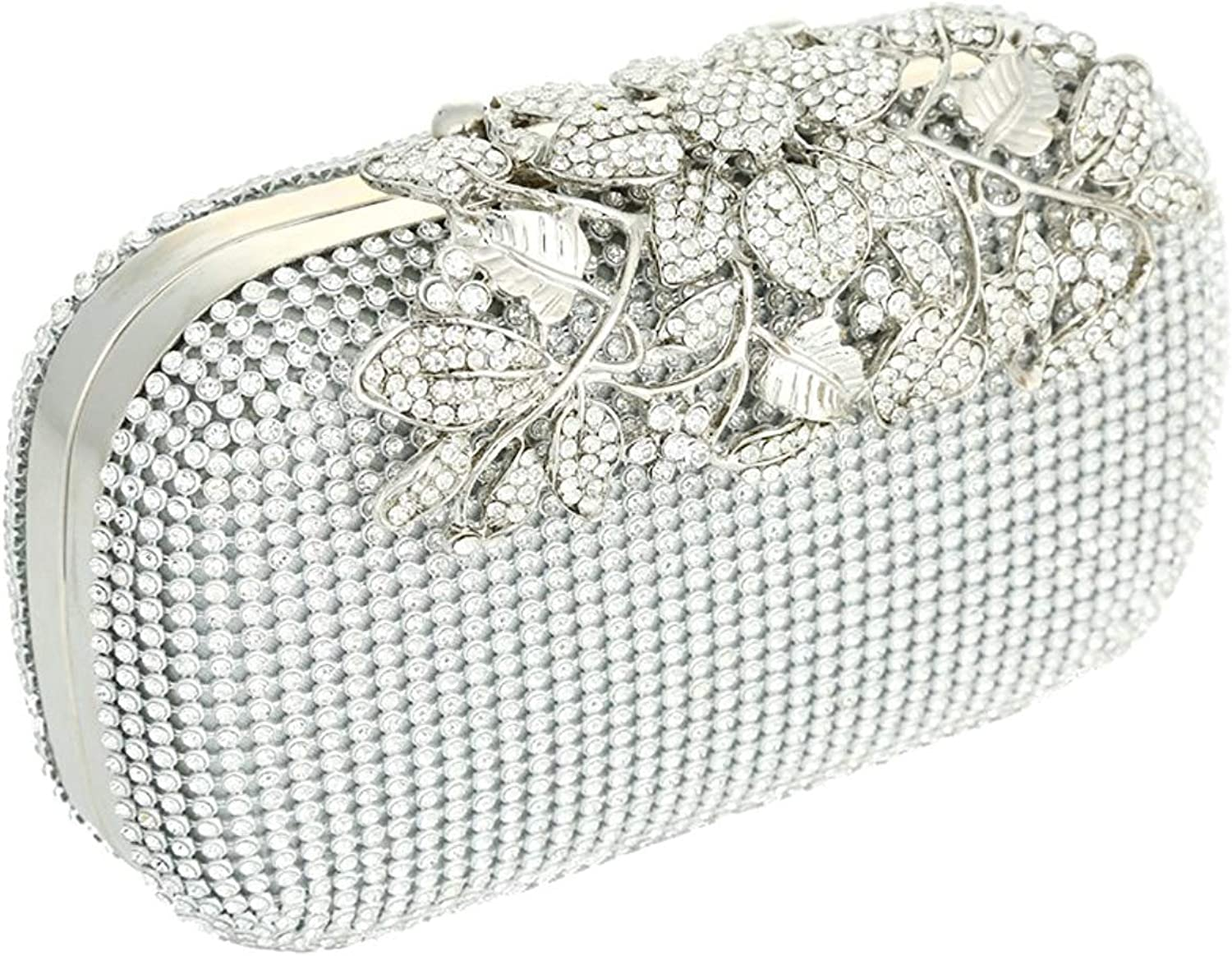 Boby Silver color Diamante Crystal Evening Bag Clutch Purse for Party and Bridal Prom for Women