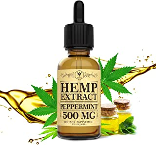 Hemp Oil 500mg for Pain Relief, Stress and Anxiety Relief, Better Sleep | 100% Natural, Organic, Vegan, Non-GMO | 500mg, 3...