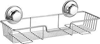 iPEGTOP L-4 Strong Suction Cup Shower Caddy Bath Shelf Storage, Combo Organizer Basket for Shampoo, Soap, Conditioner, Razor Bathroom Accessories - Rustproof Stainless Steel, 1 Pack