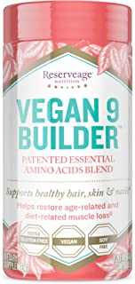 Reserveage, Vegan 9 Builder, Essential Amino Acids Blend to Support Healthy Hair, Skin and Nails, 120 Capsules, 20 Servings