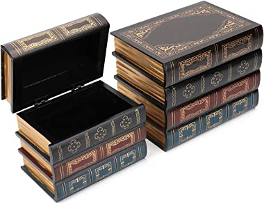 Tosnail 2 Pack Decorative Book Boxes Wooden Antique Book Decorations Vintage Book Storage Box
