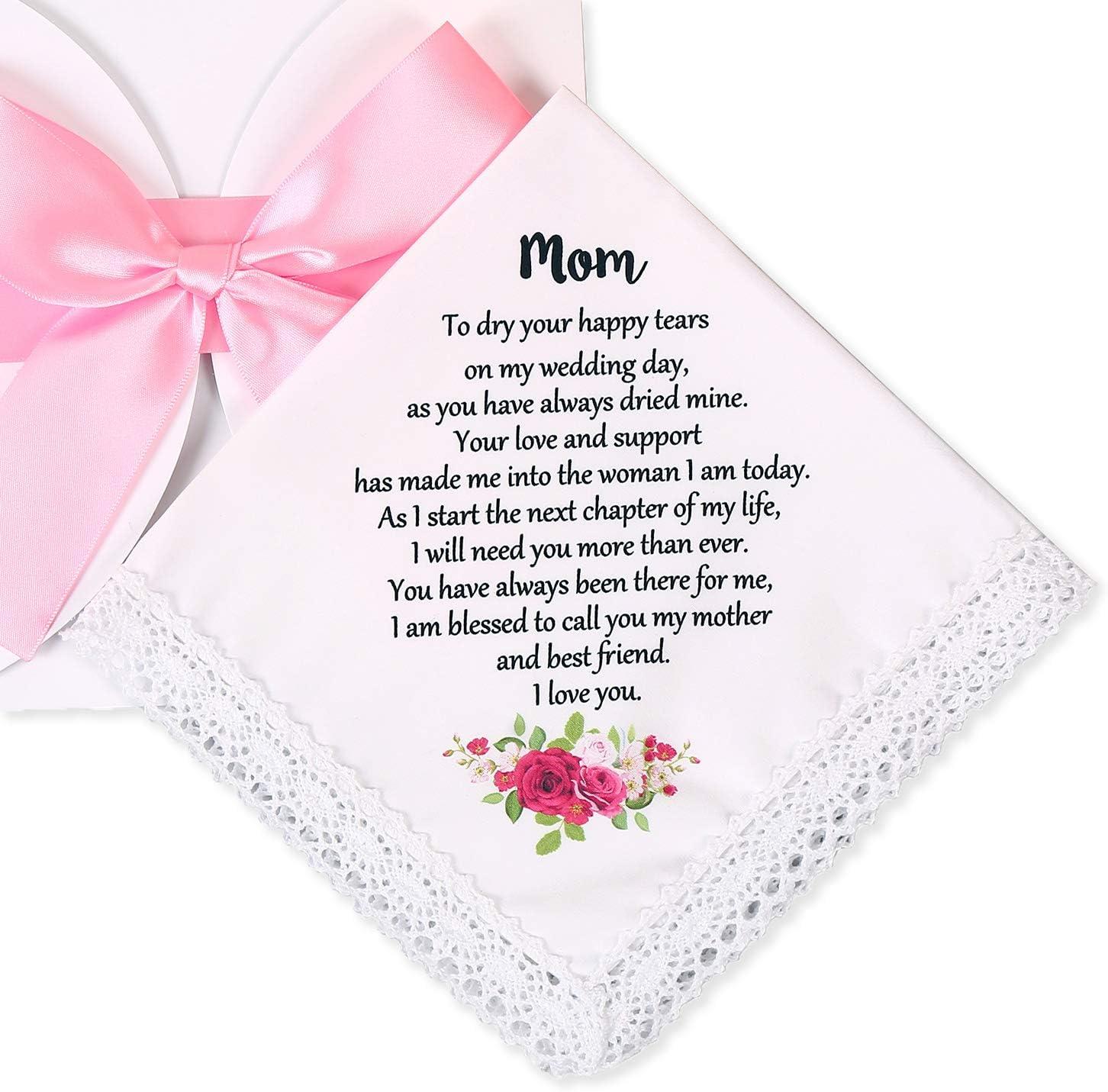 Wedding Handkerchief for Bride's Mother, Mom Wedding Gift from Daughter, Keepsake Hankie for Mother (Mom)