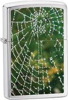 Zippo Brushed Chrome Spider Web Raindrops Lighter