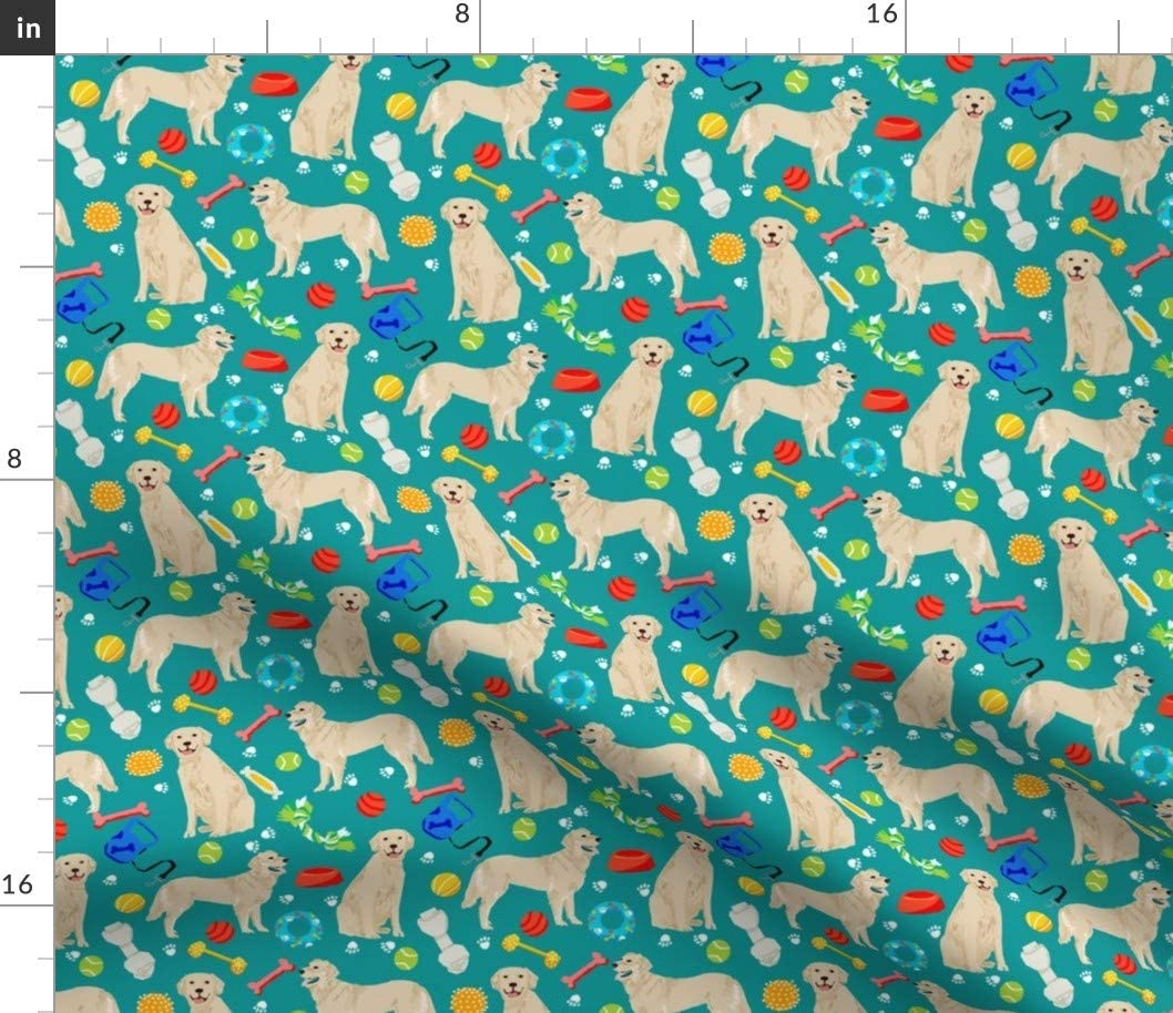 Spoonflower Fabric - Golden Manufacturer direct delivery Retrievers In stock Teal Dogs Dog Toys Retrie