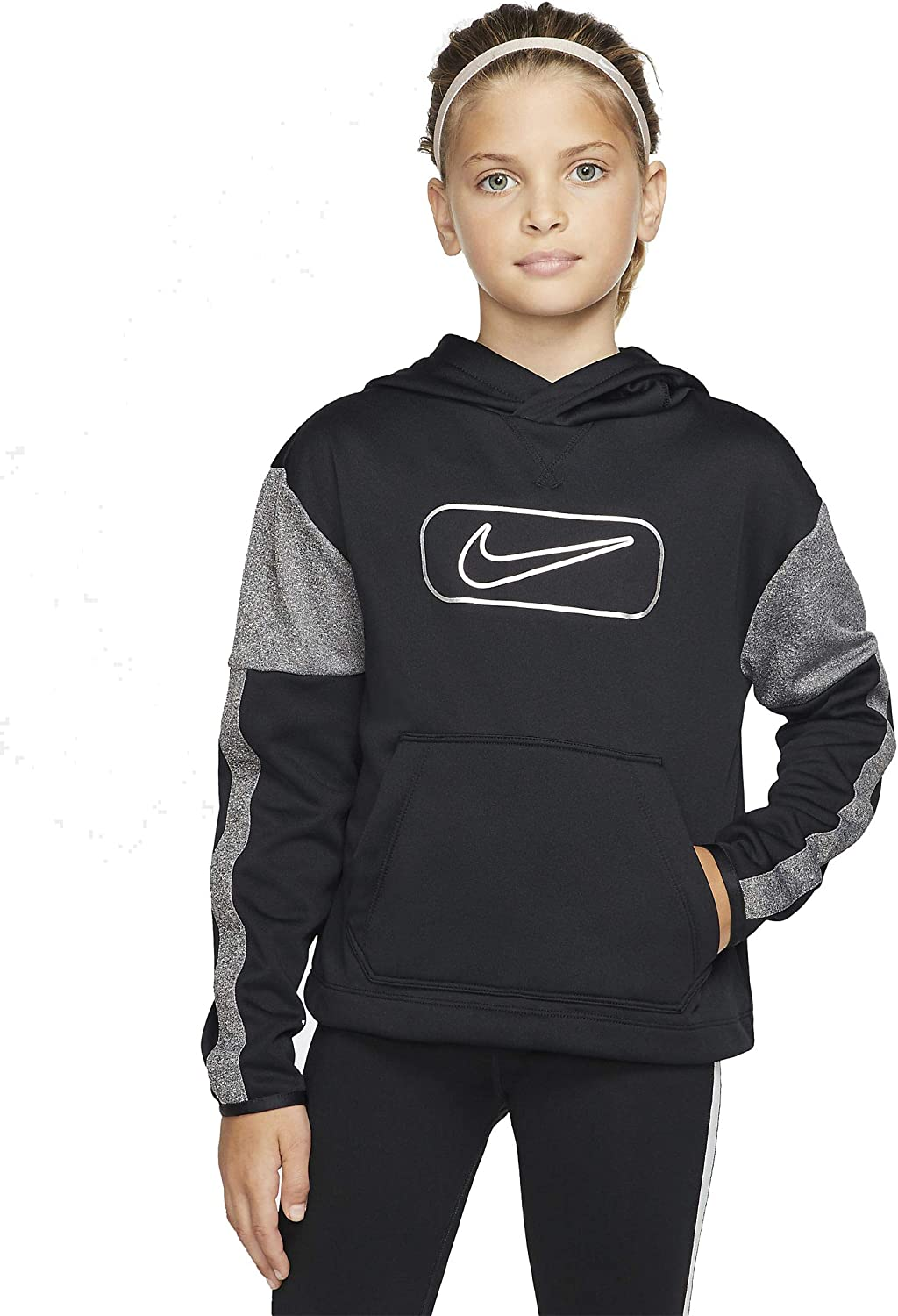 Nike Girl's (Big Kids) Therma-Fit Pullover Training Hoodie - Black (X-Large)