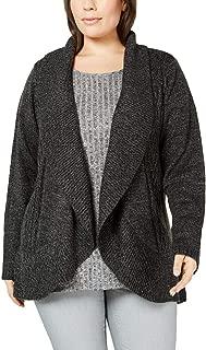 Karen Scott Womens Plus Cocoon Open Front Cardigan Sweater Black 2X