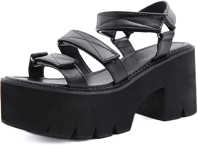 HeelChic Women Roman Cutout Goth Platform Sandals Fashion Classic Chunky Heel Shoes