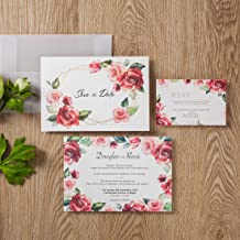 50 WISHMADE Floral Red Rose Simple Design Wedding Invitations Card Stock, Gold Foil Border with Sulfuric Paper Envelope, for Engagement Bridal Shower Quincenera Birthday Party