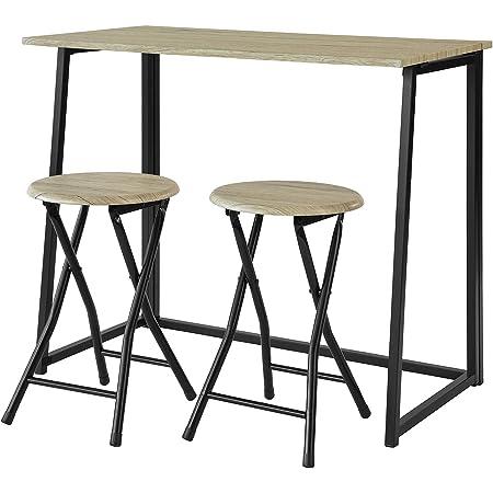 SoBuy® OGT18-N Set de 1 Table + 2 Chaises Table à Manger Table de Cuisine Ensemble Table de Balcon + 2 tabourets avec Repose-Pieds Table Pliante Ensemble Table et Chaise Salle a Manger