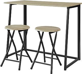 comprar comparacion SoBuy OGT18-N,ES Set Mesa Alta de Bar y 2 Taburetes,Mueble Plegable para Cocina (2 Taburetes)