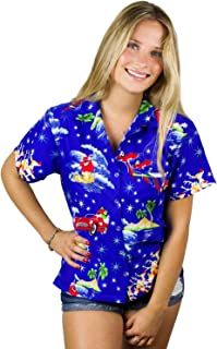 King Kameha Hawaiian Blouse Shirt for Women Funky Casual Button Down Very Loud Shortsleeve Santa Christmas X-Mas Mix