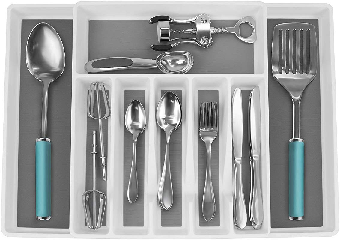 Sorbus Flatware Drawer Organizer Expandable Cutlery Drawer Trays For Silverware Serving Utensils Multi Purpose Storage For Kitchen Office Bathroom Supplies Cutlery Drawer Organizer White