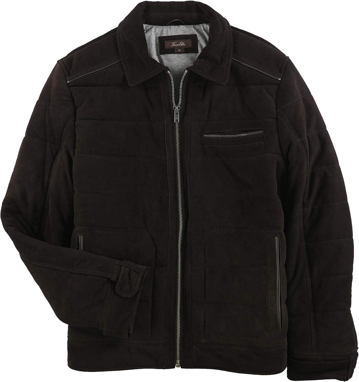 Tasso Elba Mens Pontenza Suede Quilted Jacket