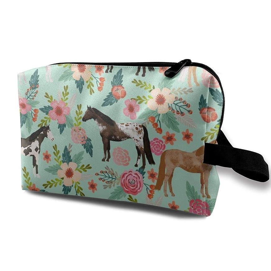 ヒゲクジラ脊椎バレル化粧ポーチ コンパクトサイズ,馬の多コートの花馬の生地Mint_3397のオックスフォードの布の多彩な袋の小型旅行