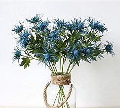 Artificial Flowers Artificial Thistle Spray Eryngo Fake Eryngium Foetidum Simulation Sea Holly for Wedding Bouquet Centerp...