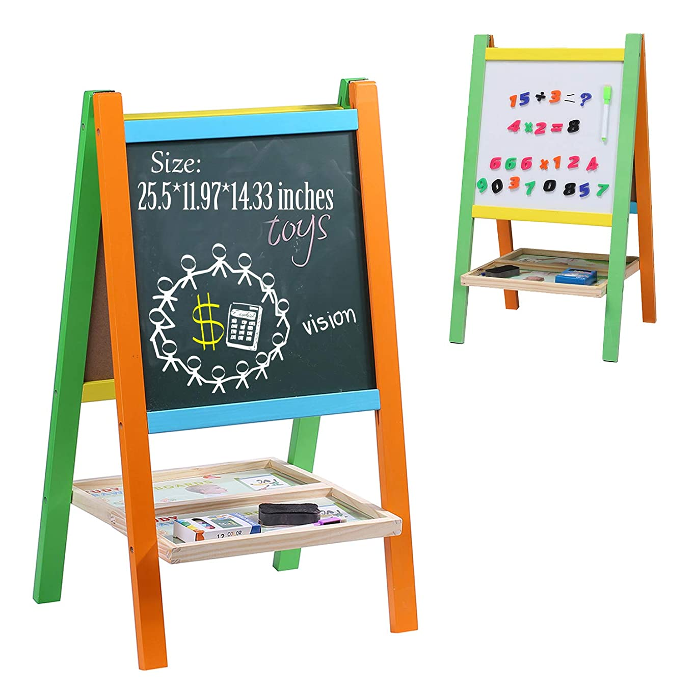 Wondertoys Kids Standing Art Easel Board with Whiteboard and Chalkboard Magnetic Alphabet Toddlers Gifts for 2 to 12 Years Old Boys and Girls