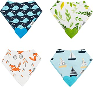 ROBABY Quality Designer Baby Bibs with Teether – Bargain – 4 Pack – Baby BOY - Drool Bibs for Teething Baby – Gift Set - B...