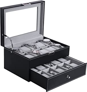 BEWISHOME Watch Box Organizer 20 Men Display Storage Case Metal Hinge Black PU Leather Glass Top Large Holder SSH04B