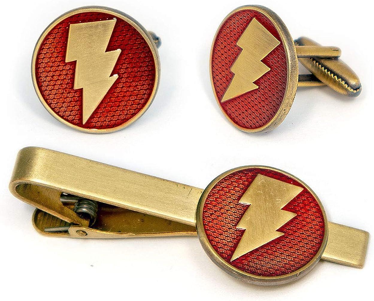 Shazam Cufflinks, Captain Marvel Tie Clip, DC Comics Batman vs Superman Tie Tack Jewelry, Nightwing Cuff Links Link Wedding Party Gift, Justice League Avengers Groomsmen Gifts