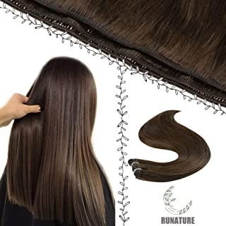 RUNATURE Sew in Hair Weave 14 Inches Color 4 Chocolate Brown 100g 1pcs Full Head Thick Short Straight Hair Bundles Sew in Hair Weft Extensions Double Weft Hair Bundles