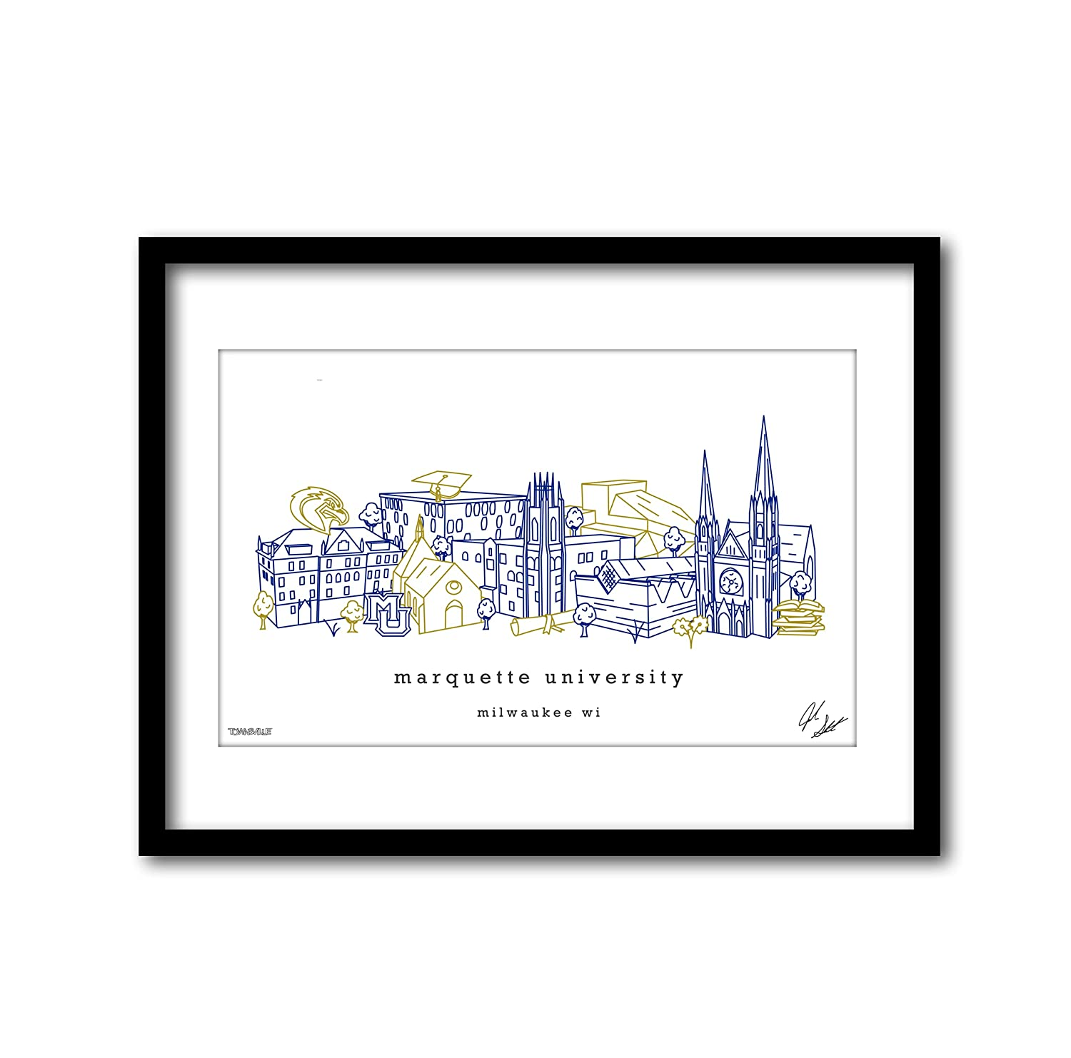Marquette University Campus Minimalist Gi Graduation Spring new work one after Max 66% OFF another Print Art