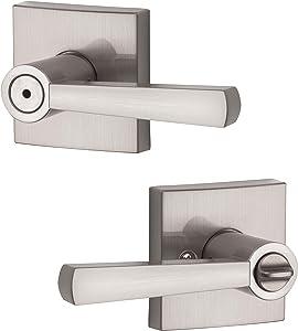 Baldwin Spyglass Privacy Lever for Bedroom or Bathroom Door Handle in Satin Nickel, Prestige Series with a Modern Contemporary Slim Design for Interior Doors