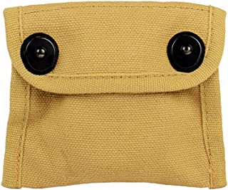 Oleader WW2 US Army Compass Pouch with Simple Compass WWII Khaki Canvas for Outdoor Field Camping Hiking