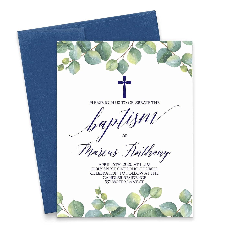 Greenery In stock Baptism Invitations for Elegant Max 71% OFF Invitatio Boys