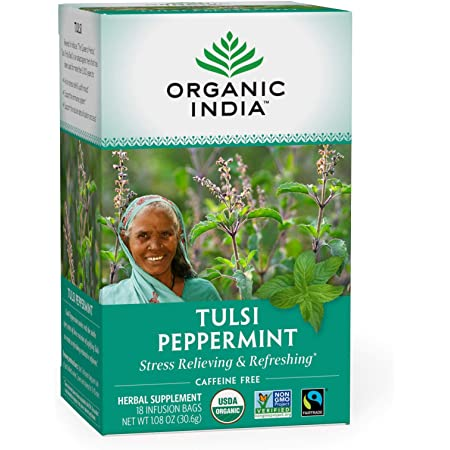 Organic India Tulsi Peppermint Herbal Tea - Stress Relieving & Refreshing, Immune Support, Aids Digestion, Vegan, USDA Certified Organic, Fairtrade, Caffeine-Free - 18 Infusion Bags, 1 Pack