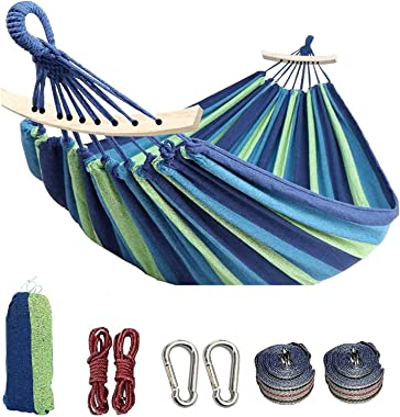 Colel Double Hammock, 2 Person Cotton Canvas Hammock 450lbs Portable Camping Hammock with Carrying Bag Two Anti Roll Balance