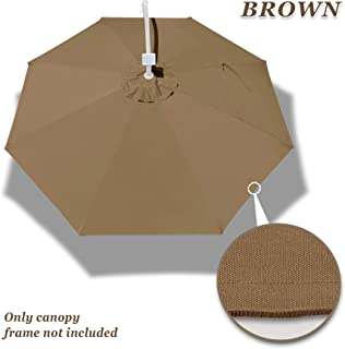 Strong Camel Replacement Canopy for 9FT 8rib Outdoor Patio Umbrella Polyester Top Cover (Brown)