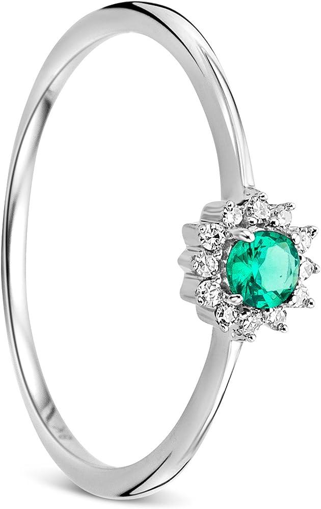 Orovi anello per donna in oro bianco oro 9 kt / 375 (0.96 g) e smeraldo 0,11ct e diamante 0,05 ct OR81033R52