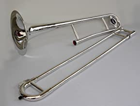 Plastic Trombone in Metallic Silver with Carry Bag, Stand and Cleaning Kit