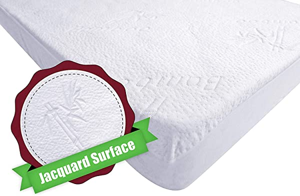 ILuvBamboo Crib Mattress Pad Protector Waterproof Cover Soft Natural Bamboo Jacquard Fitted Topper Noiseless Breathable Hypoallergenic Best Baby Gifts For Potty Training Toddlers Infants