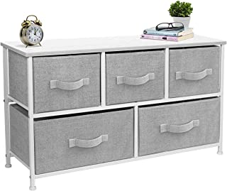Sorbus Dresser with Drawers - Furniture Storage Tower Unit for Bedroom, Hallway, Closet, Office Organization - Steel Frame, Wood Top, Easy Pull Fabric Bins (5 Drawer, White/Gray)