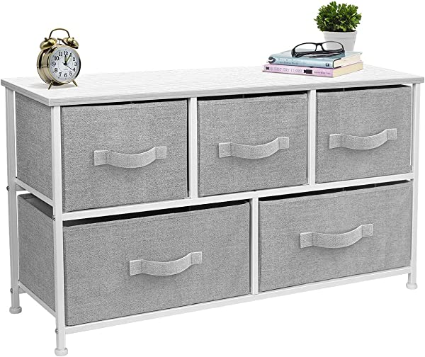 Sorbus Dresser With Drawers Furniture Storage Tower Unit For Bedroom Hallway Closet Office Organization Steel Frame Wood Top Easy Pull Fabric Bins 5 Drawer White Gray