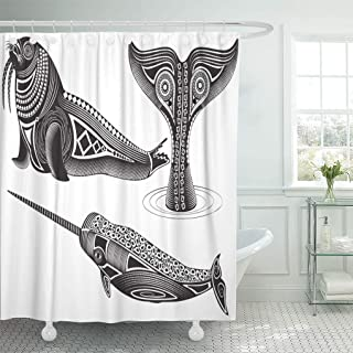 Semtomn Shower Curtain Indian Black Narwhal of Tribal Totem Animals Walrus Abstract Shower Curtains Sets with 12 Hooks 72 x 72 Inches Waterproof Polyester Fabric