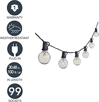Sterno Home 100-Ft Clear Globe Outdoor String Lights