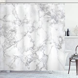Ambesonne Marble Shower Curtain, Nature Granite Pattern with Cloudy Spotted Trace Effects Marble Image, Cloth Fabric Bathroom Decor Set with Hooks, 70