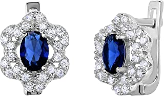 Sterling Silver Simulated Birthstone & White CZ English Lock Flower Earrings