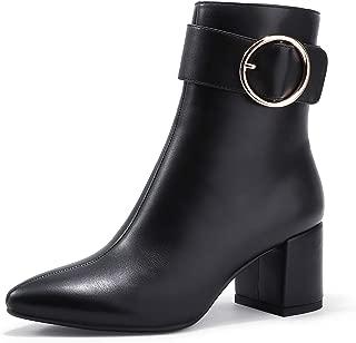 IDIFU Women's Lori Pointed Toe Chunky High Heel Ankle Booties Metal Ring Zipper Short Boots (Black Pu, 9.5)
