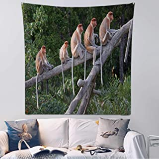 Hitecera Proboscis Monkeys in a Row Wall Hanging,118067 Bedding Tapestry,59.1x59.1inch