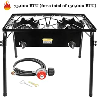 ARC USA, Outdoor Double Burner Assembled, High Pressure Cast Iron Propane Burner, Portable Gas Cooker, Camping 2 Cooking Stove, Adjustable 0-20 PSI CSA Regulator and Hose, Perfect for Outdoor Cooking
