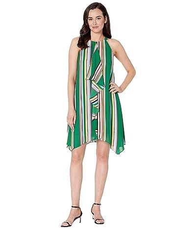 Adrianna Papell Printed Stripe Halter Dress with Asymmetric Drape (Green Multi) Women