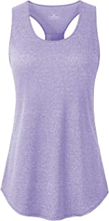 YAKER Athletic Yoga Tops for Women Racerback Running Tank Top Gym Exercise Shirts