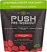 Push Pre-Workout Powder (Fruit Punch) by SFH | Best Tasting 5g BCAA's for Muscle Repair | Non-Dairy, No Art...
