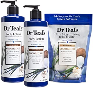 Dr Teal's Body Lotion and Ultra Moisturizing Bath Bombs - Coconut, 2 Count - 16oz Bottles and 4 Count Bag
