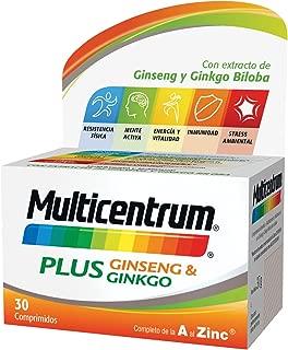 Multicentrum Plus complemento alimenticio con 13 Vitaminas, 8 Minerales, Ginseng y Ginkgo Biloba, Con Vitamina B1, Vitamina B6, Vitamina B12, Hierro, Vitamina C, Vitamina D, 30 Comprimidos