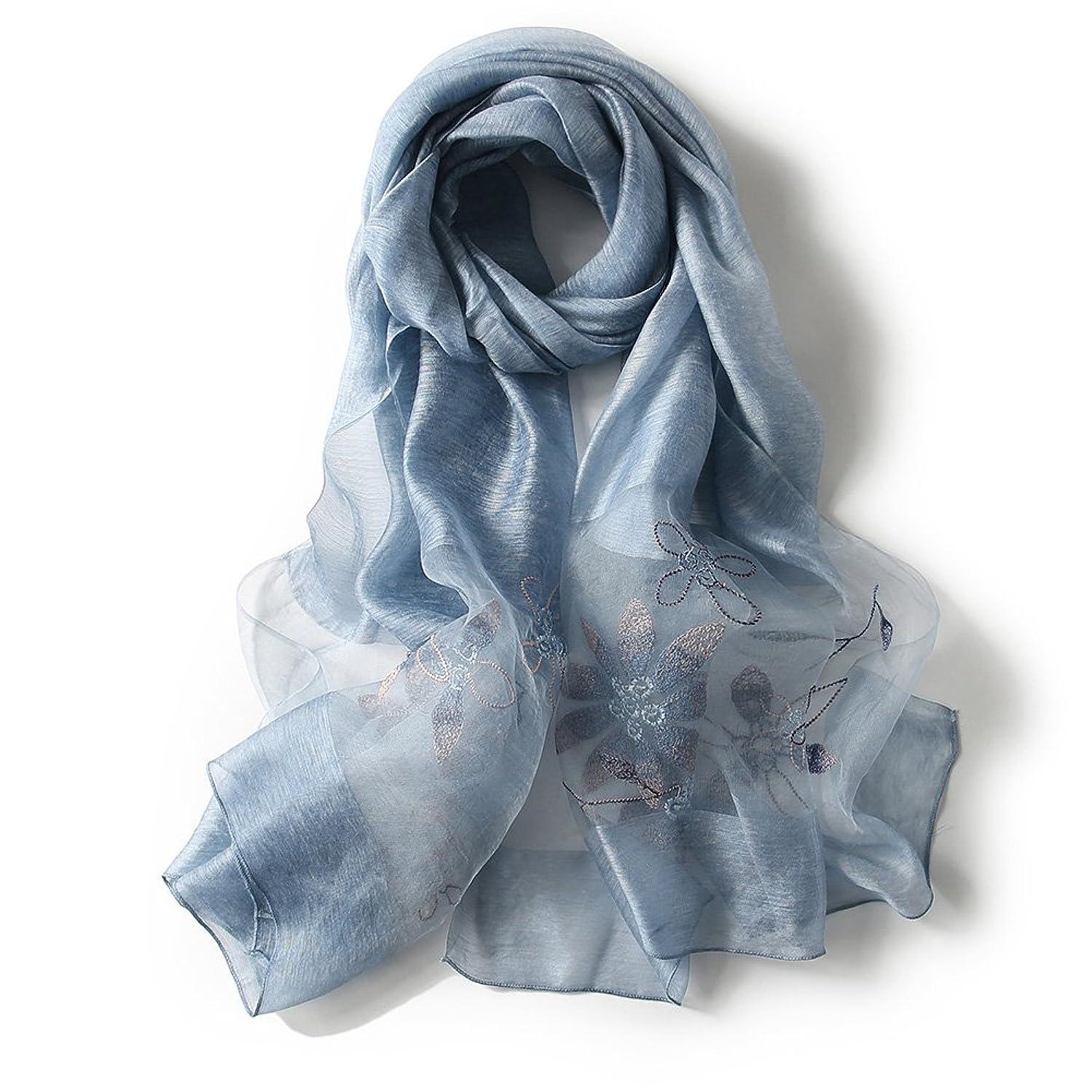 不適鈍い小学生アンミダ(ANMIDA) シルク ストール 紫外線防止 スカーフ シルク 大判 ストール 刺繍 上品 レディース 春夏