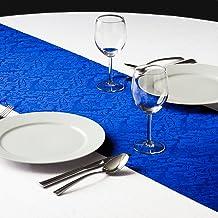مفرش طاولة من الساتان المنقوش الباروك من LinenTablecloth مقاس 14 في 108 بوصة، أزرق ملكي